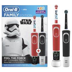 Oral-B D100 Elektromos fogkefe fekete Cross Action fejjel + D100 Elektromos fogkefe Star Wars